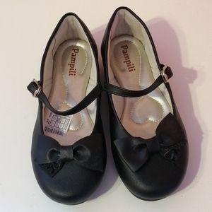 NWOT Pampili Girls Ballerina Leather Black Shoes